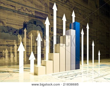 fine 3d image of financial business chart