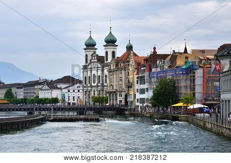 The River Reuss In Lucerne, Switzerland
