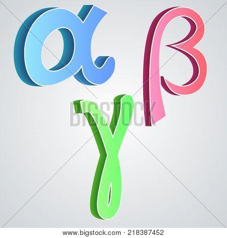 Alpha beta gamma, greek alphabet vector illustration