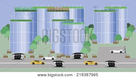 The city of the future concept. Electric vehicles, autonomous buses. Internet of things. Electrical technology. Vector illustration.