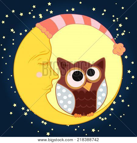 A sweet cartoon owl with eyes closed to the middle in a sleeping cap sits on a drowsy crescent in a sleeping cap against the background of a night sky with stars...