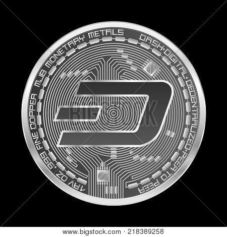 Crypto currency silver coin with silver dash symbol on obverse isolated on black background. Vector illustration. Use for logos, print products, page and web decor or other design.
