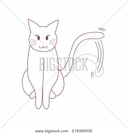 White Cute Cat Wagging Their Tail. Vector illustration. isolated on White Background.