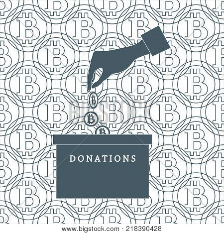 Stylized icon calling to make a donation. Hand pouring the bitcoins in the donation box on a bitcoins background