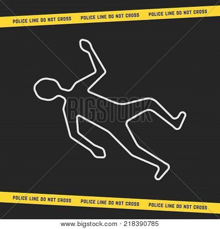 classic crime scene with white outline body. concept of boundary of dead man or woman and yellow tape like border of the incident. flat linear style modern graphic art design on black background
