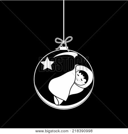 Flat Christmas Ball with Bow Star and Baby Jesus Christ. Vector Bauble with Baby Jesus Figure decorative xmas ornament. Illustration isolated on black background. Silhouette Icon Symbol Design.