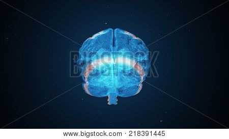 Extraordinary brain activity and the emerging headache from overexertion 3d illustration