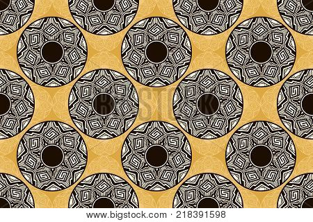traditional geometric abstract designs on peublo pottery in North America, in a seamless pattern
