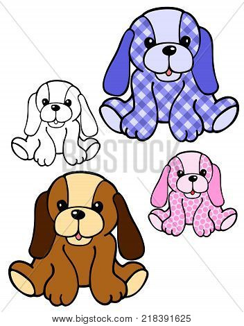 Stuffed animal from the old nursery rhyme, with variations and vector format
