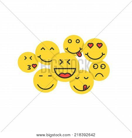 set of yellow emoji like crowd of people. concept of smilies for social network or togetherness and communication. simple flat style trend modern logo graphic design isolated on white background