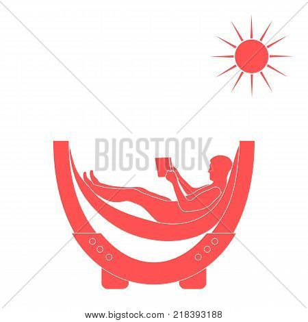 Vector illustration of man resting in a hammock with a book on a white background