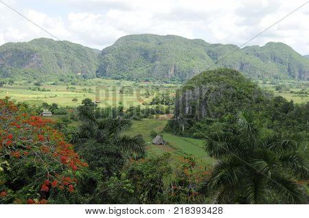 Landscape of the Vinales Valley in Pinar del Río Cuba
