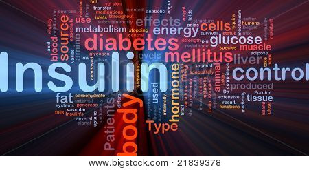 Background concept wordcloud illustration of insulin diabetes control glowing light poster