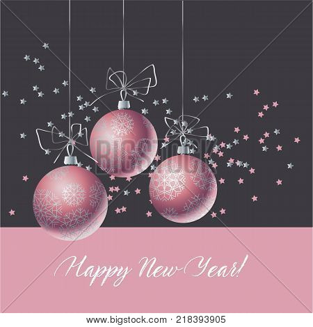 Christmas decorative bauble on black background. Vector illustration with new year balls for xmas card, invitation, surface design. Luxury rose gold ornament elements.