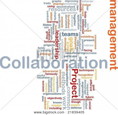 Background concept wordcloud illustration of Collaboration management cooperation