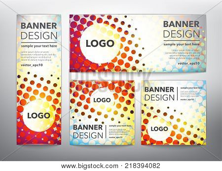 Collection of 4 web banners in doted, halftone design. Isolated on the light panel. Each item contains space for own logo and text. Vector illustration. Eps10.