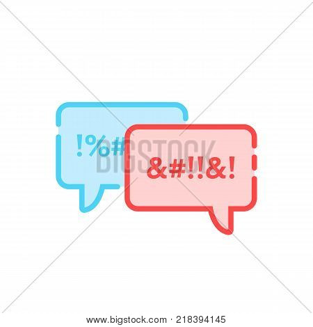 argue icon with rude swear clouds. flat style trend modern logotype graphic design isolated on white background. concept of mobile app sign for online dialog, chatting or calling and dirty insult