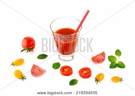 Fresh tomato juice and tomatoes isolated on white background. Flat laytop view. Free space for text.