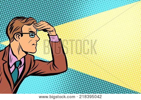 Close-up man looking forward. Pop art retro vector illustration