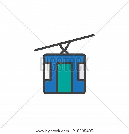 Cable car filled outline icon, line vector sign, linear colorful pictogram isolated on white. Cableway symbol, logo illustration. Pixel perfect vector graphics
