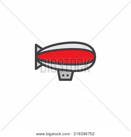 Airship zeppelin filled outline icon, line vector sign, linear colorful pictogram isolated on white. Dirigible air balloon symbol, logo illustration. Pixel perfect vector graphics
