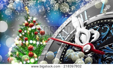 New Year's at midnight - Old clock with stars snowflakes and holiday lights. 3d rendering