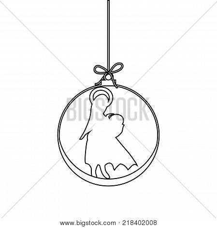 Flat Christmas Ball with Bow Maria and Baby Jesus Christ. Vector Outline Bauble with Mother Maria and Baby Jesus Figure decorative xmas ornament. Illustration isolated on white background. Silhouette Icon Symbol Design.