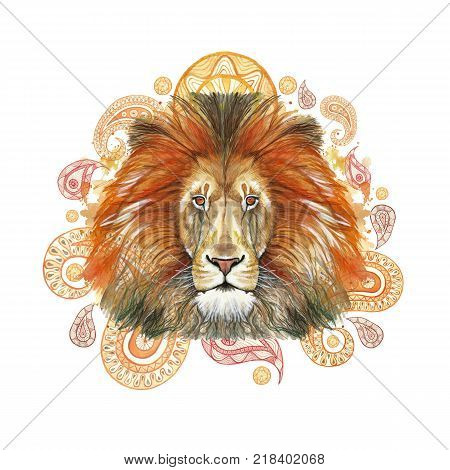Watercolor drawing of red lion, red mane, lion-king of beasts, portrait of greatness, strength, kingdom, india, Indian patterns, with elements of a Turkish cucumber on a white background