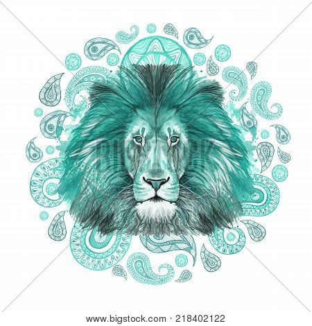 Watercolor drawing of turquoise lion, turquoise mane, lion-king of beasts, portrait of majesty, strength, kingdom, india, Indian patterns, with elements of turkish cucumber