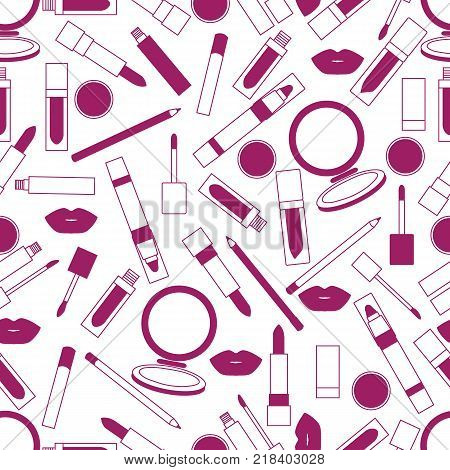 Seamless pattern of different lip make-up tools. Vector illustration of lipsticks, mirror, lip liner, lip gloss, lip. Glamour fashion vogue style.