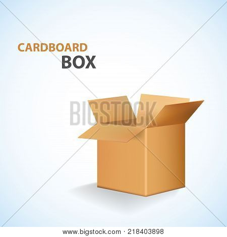 Cardboard Open Box isolated on white. Vector illustration