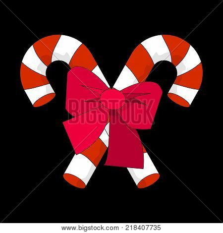 Christmas Candy Cane with Red Bow Silhouette Icon Symbol Design. Vector Candy Cane illustration isolated on black background