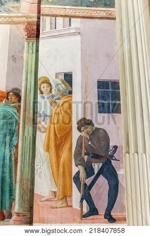 Florence Italy - April 08 2017: Famous Renaissance frescoes in Brancacci Chapel in the Church of Santa Maria del Carmine
