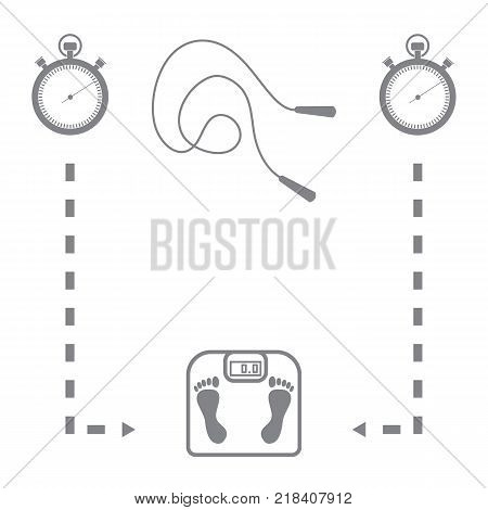 Stylized icon of the with scales, two stopwatch, arrows, skipping rope on a white background