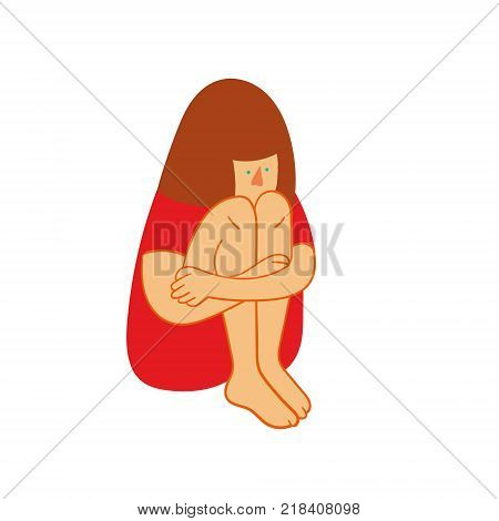 Puppet on stage sad girl sitting. Sad teenager girl with crossed arms and lonely expression
