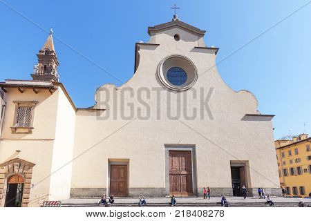 Florence Italy - April 08 2017: Basilica of the Holy Spirit (Santo Spirito) it is one of the preeminent examples of Renaissance architecture
