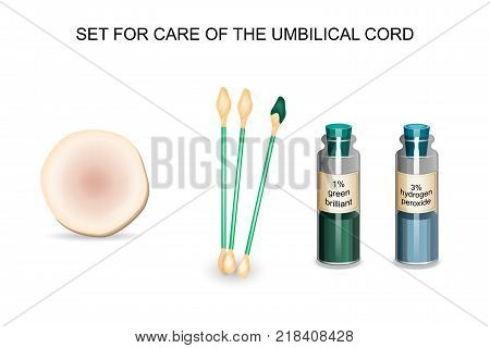 vector illustration of a set for care of the umbilical cord