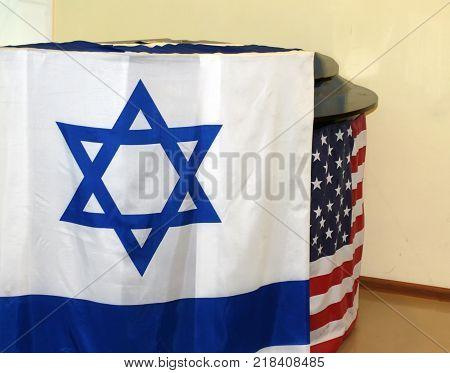 The Israeli flag. Flag of the United States