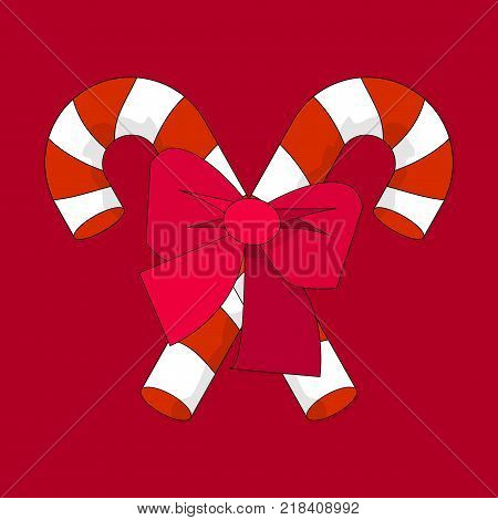 Christmas Candy Cane with Red Bow Silhouette Icon Symbol Design. Vector Candy Cane illustration isolated on red background