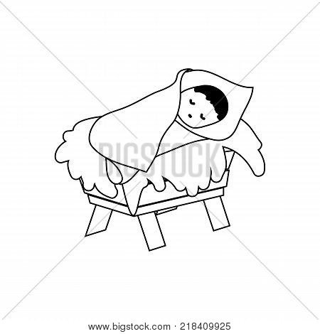 Baby Jesus Christ in the Manger.Outline Figure Icon Symbol Design. Vector Christmas illustration isolated on white background
