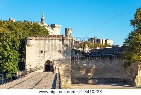 France Avignon the old town seen from the St Benezet bridge also known as the Bridge of Avignon on the Rhone river