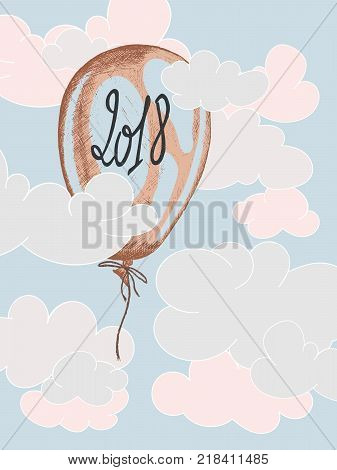 vector hand drawn illustration of a balloon with 2018 handwritten on it and floating in the sky in blue pink shades