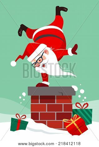 Vector cartoon illustration of Santa Claus on house roof doing handstand on chimney with colorful wrapped presents lying around in snow. Funny humorous Christmas winter holiday greeting card design