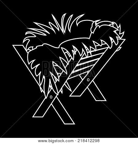 Jesus Manger. Vector Outline Icon Symbol Design. Vector Christmas illustration isolated on black background