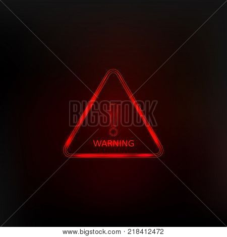 Hazard warning attention sign with exclamation mark symbol. Caution neon icon triangle. Vector illustration.