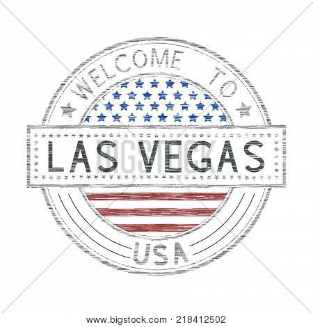 Welcome to Las Vegas, USA. Colored tourist stamp with US national flag. Vector illustration isolated on white background