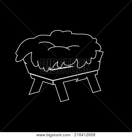 Christmas Empty Jesus Manger Vector Outline Icon Symbol Design. Vector Christmas illustration isolated on black background