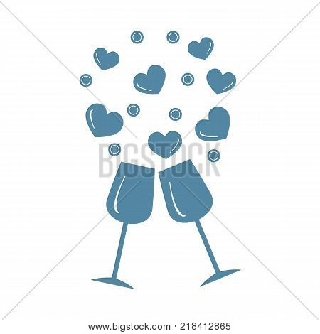 Cute vector illustration of two stemware with hearts. Design for banner, flyer, poster or print. Greeting card Valentine's Day.