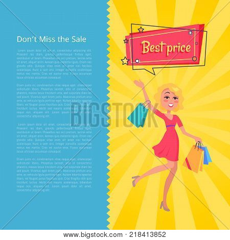 Don t miss the sale best prices poster with woman carrying shopping bags in hands, dressed in red gown, speech bubble above head vector illustration