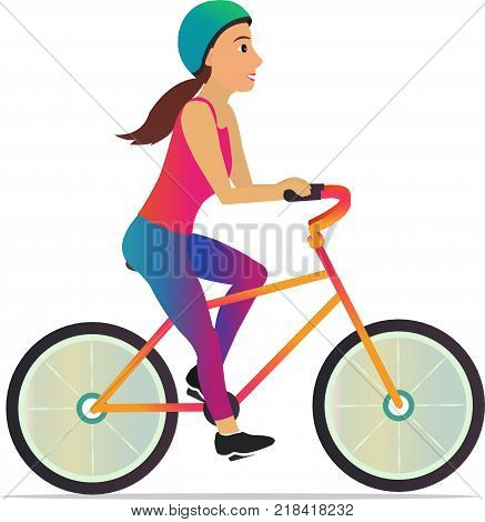 Woman riding bicycle. Beautiful young girl riding bicycle. - stock vector